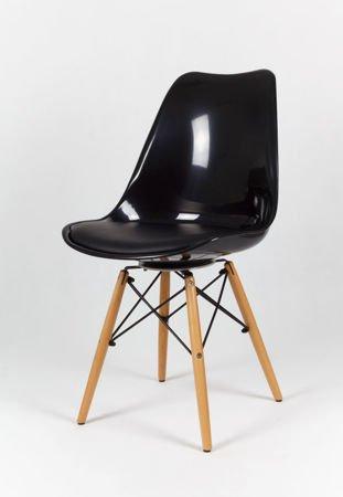 SK Design KR020 Schwarz Stuhl mit Holzbeine - Kissen