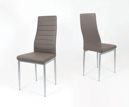 SK Design KS001 Braun-Grau Kunsleder Stuhl auf einem lackierten Rahmen