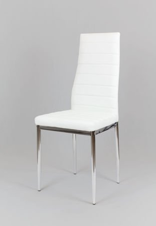 SK Design KS001 Weiss Kunsleder Stuhl mit Chromgestell