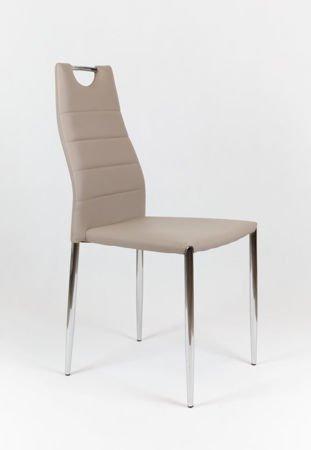 SK Design KS005 Beige Kunsleder Stuhl mit Chromgestell