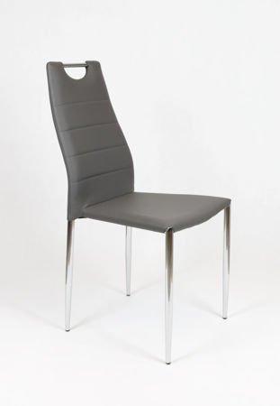 SK Design KS005 KS005 Grau Kunsleder Stuhl mit Chromgestell
