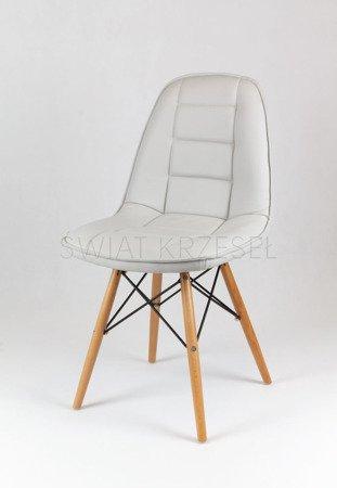 SK Design KS009 Hellgrau Kunsleder Stuhl mit Holzbeine
