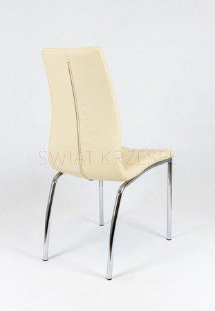 SK DESIGN KS010 CREME Kunsleder Stuhl mit Chromgestell CIEMNE P