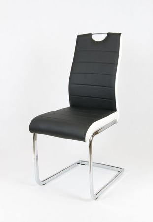 SK DESIGN KS037 SCHWARZ Kunsleder Stuhl mit Chrome