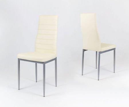 SK Design KS001 Creme Kunsleder Stuhl auf einem lackierten Rahmen