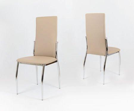 SK Design KS004 Beige Kunsleder Stuhl mit Chromgestell