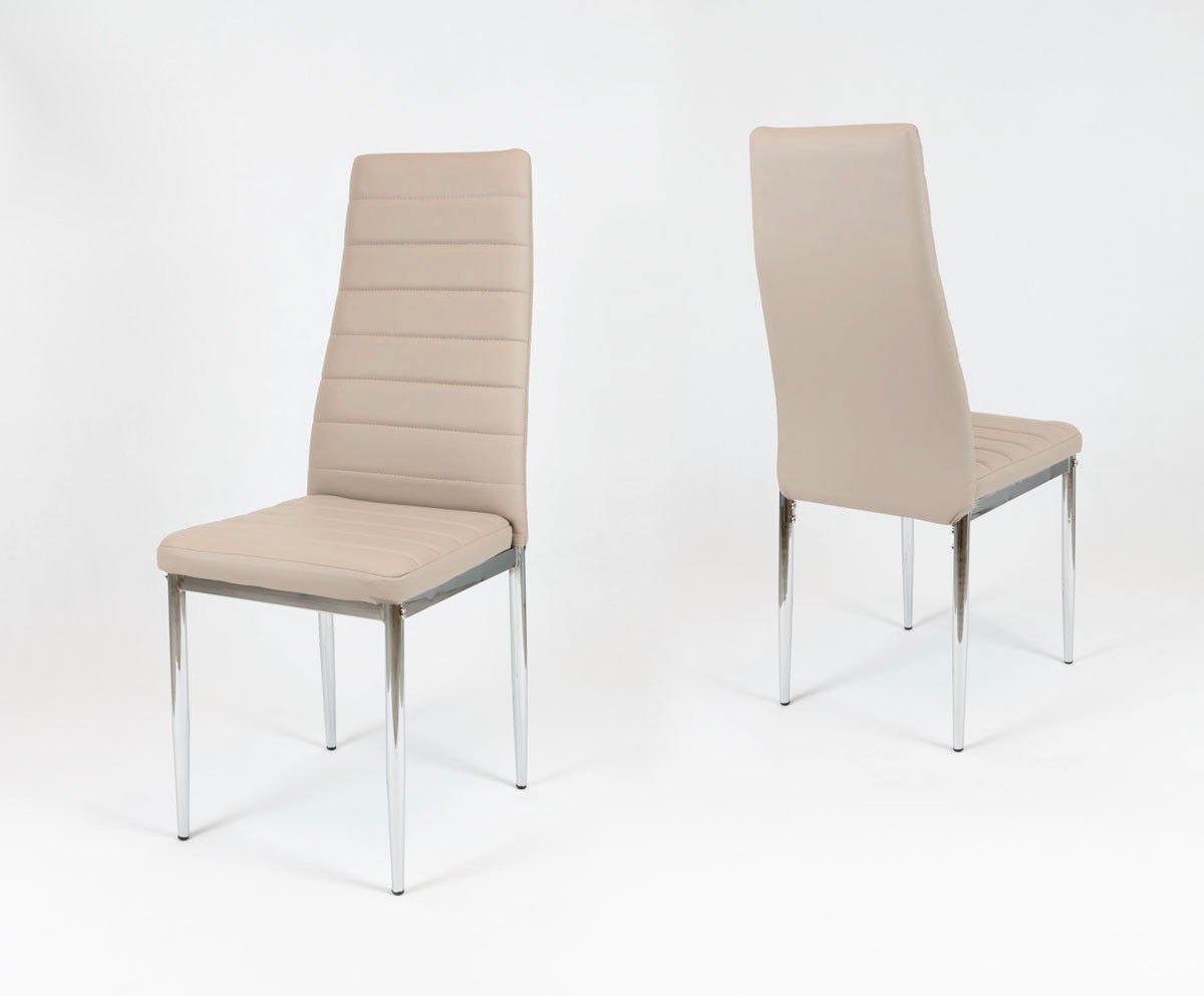 Sk Design Ks001 Beżowe Krzesło Z Eko Skóry Chromowane Nogi