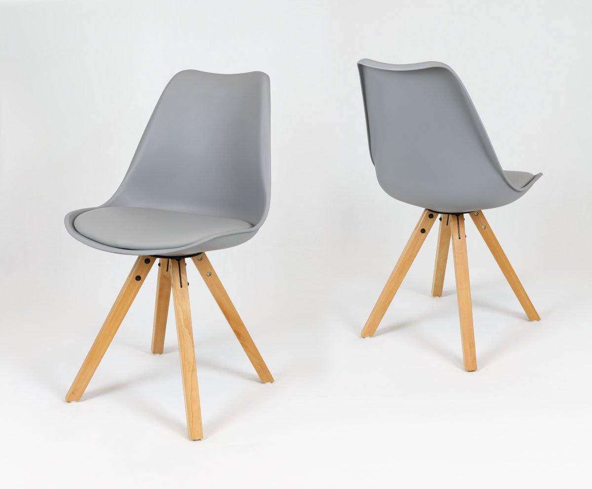 Modne ubrania SK Design KR020A Szare Krzesło na Drewnianym Stelażu Szary QY73