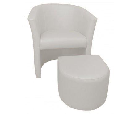 Biały fotel CAMPARI z podnóżkiem