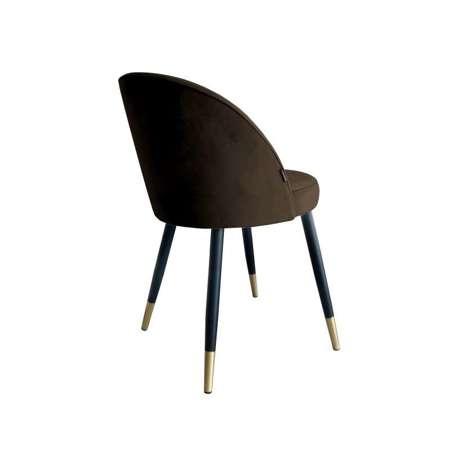 Brązowe tapicerowane krzesło CENTAUR materiał MG-05 ze złotą nóżką