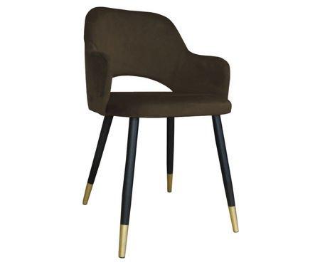 Brązowe tapicerowane krzesło STAR materiał MG-05 ze złotą nóżką
