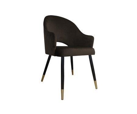Ciemnobrązowe tapicerowane krzesło fotel DIUNA materiał MG-05 ze złotymi nóżkami