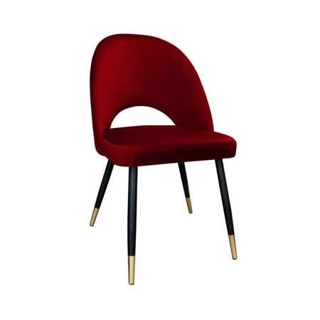 Czerwone tapicerowane krzesło LUNA materiał MG-31 ze złotą nóżką