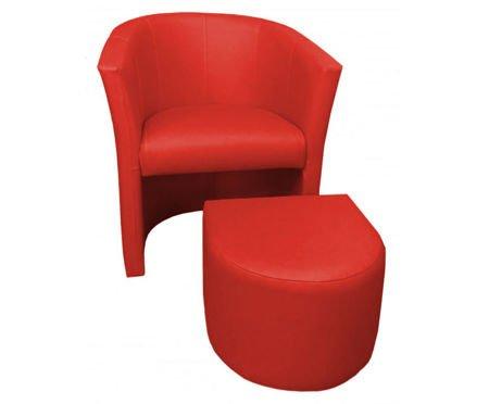 Czerwony fotel CAMPARI z podnóżkiem