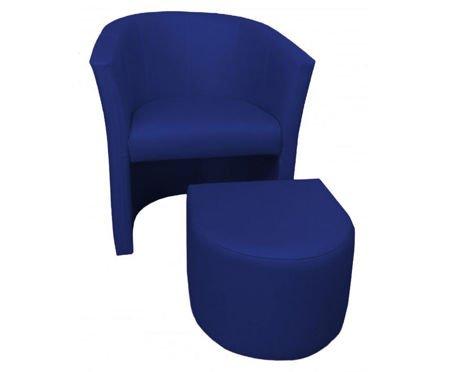 Granatowy fotel CAMPARI z podnóżkiem