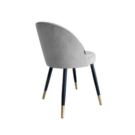 Jasnoszare tapicerowane krzesło CENTAUR materiał MG-39 ze złotą nóżką