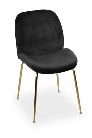 Krzesło JOY velvet czarny/ noga złota