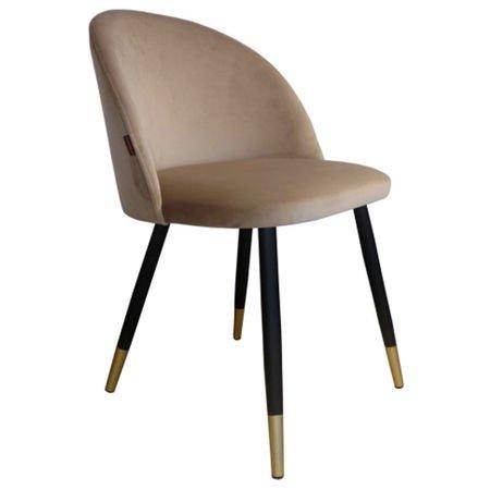 Krzesło KALIPSO jasnobrązowy materiał MG-06 ze złotą nóżką