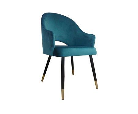 Morskie tapicerowane krzesło DIUNA materiał MG-20 petrol ze złotymi nóżkami
