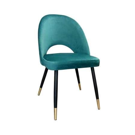 Morskie tapicerowane krzesło LUNA materiał MG-20 ze złotą nóżką