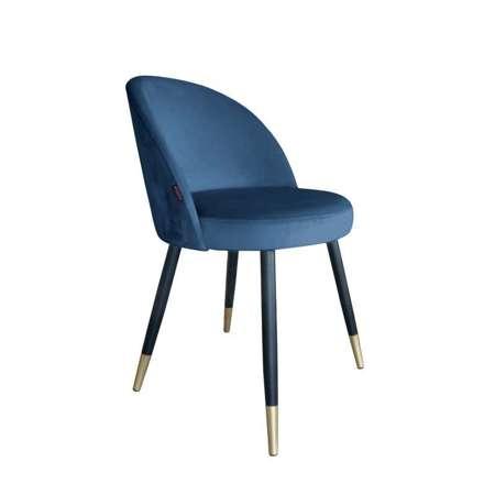 Niebieskie tapicerowane krzesło CENTAUR materiał MG-33 ze złotą nogą