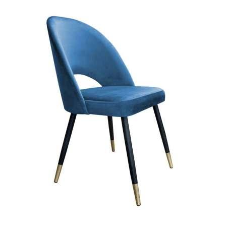 Niebieskie tapicerowane krzesło LUNA materiał MG-33 ze złotą nóżką