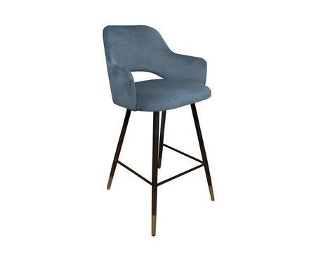 Niebieskoszare tapicerowane krzesło STAR materiał BL-06 ze złotą nóżką