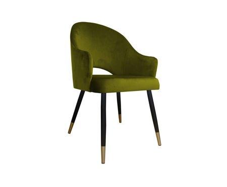 Oliwkowe tapicerowane krzesło fotel DIUNA materiał BL-75 ze złotą nogą