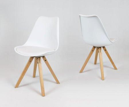 SK Design KR020A Białe Krzesło na Drewnianym Stelażu