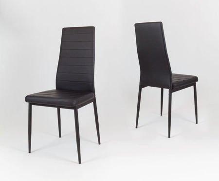 SK Design KS001 Czarne Krzesło z Eko-skóry, Czarne nogi