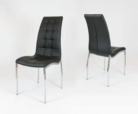 SK Design KS002 Czarne Pikowane Krzesło z Ekoskóry Chrom Stelaż