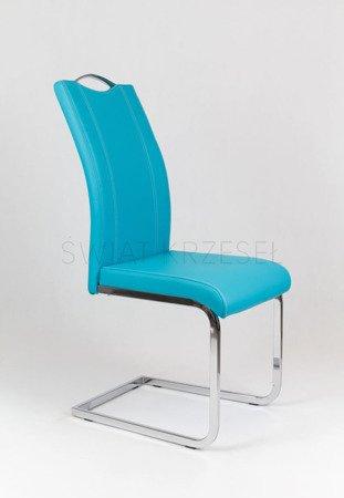 SK Design KS003 Turkusowe Krzesło z Ekoskóry na Stelażu Chromowanym