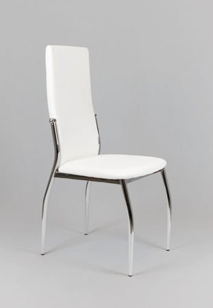 SK Design KS004 Białe Krzesło z Ekoskóry na Stelażu Chromowanym