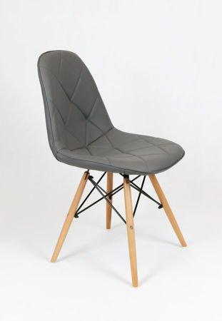 SK Design KS007 Ciemnoszare Krzesło z Ekoskóry na Drewnianych Nogach