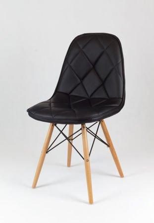 SK Design KS007 Czarne Krzesło z Ekoskóry na Drewnianych Nogach