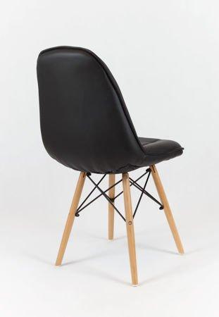 SK Design KS009 Czarne Krzesło z Ekoskóry na Drewnianych Nogach