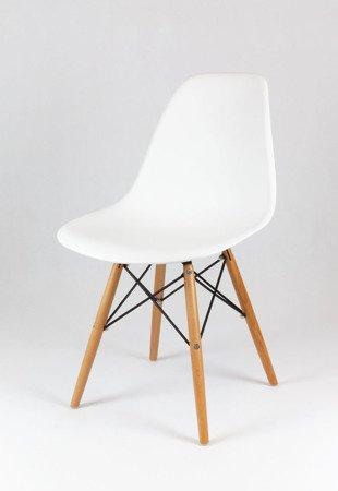 SK Design KR012 Białe Krzesło - Nogi Buk