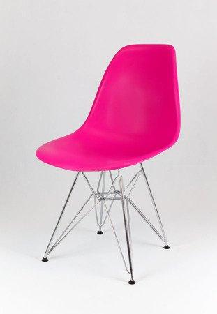 SK Design KR012 Ciemnoróżowe Krzesło, Chromowane nogi