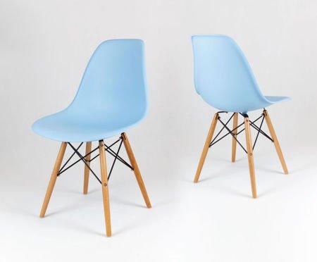 SK Design KR012 Jasnoniebieskie Krzesło, Nogi buk