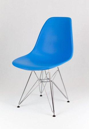 SK Design KR012 Niebieskie Krzesło, Chromowane nogi