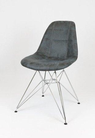 SK Design KR012 Tapicerowane Krzesło Eko, Chromowane nogi