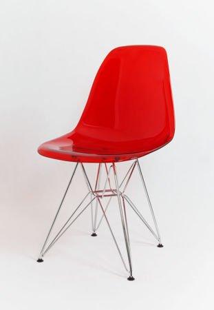 SK Design KR012 Transparentne Czerwone Krzesło, Chromowane nogi