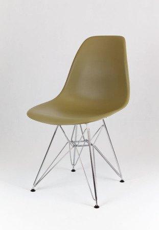 SK Design KR012 Zielona Herbata (khaki) Krzesło, Chromowane nogi