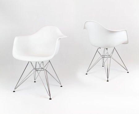 SK Design KR012F Biały Fotel, Chromowane nogi