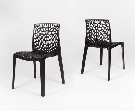 SK Design KR026 Czarne Ażurowe Krzesło z Polipropylenu