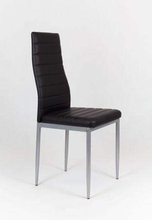 SK Design KS001 Czarne Krzesło z Eko-skóry, Szare nogi