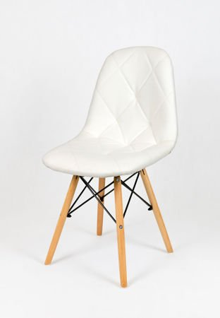 SK Design KS007 Białe Krzesło z Ekoskóry na Drewnianych Nogach
