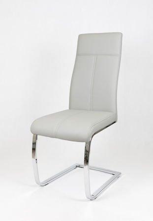 SK Design KS028 Jasnoszare Krzesło - białe przeszycia