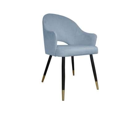 Szaroniebieskie tapicerowane krzesło fotel DIUNA materiał BL-06 ze złotymi nóżkami
