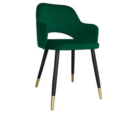 Zielone tapicerowane krzesło STAR materiał MG-25 ze złotą nóżką